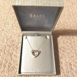 Zales Women'z Double Heart Silver Necklace